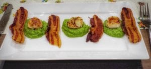 Scallops with Pea Puree and Streaky Bacon