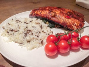 Grilled Salmon and Spinach