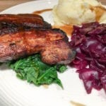 Honey Belly Pork with Braised Red Cabbage - excellent and easy pork belly marinade. The red cabbage tastes amazing - http://amateurchef.wpengine.com