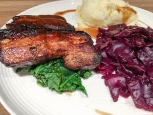 Honey Belly Pork with Braised Red Cabbage