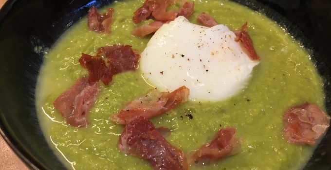 Pea Soup With Ham & Poached Egg