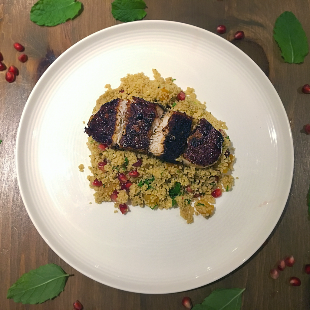 Pomegranate Couscous with Moroccan Pork - Tasty Couscous recipe with lots of flavour. Includes Apricots, Pomegranate, Lime and Mint - Yummy! AmateurChef.co.uk